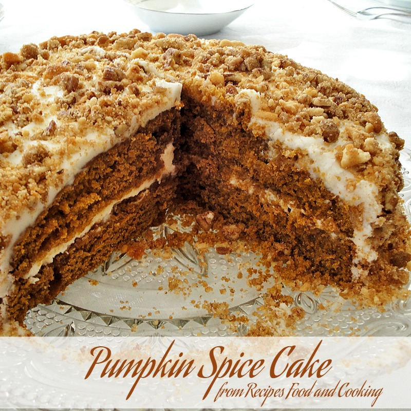 Pumpkin Spice Cake with cream cheese frosting, topping with a crunchy ...