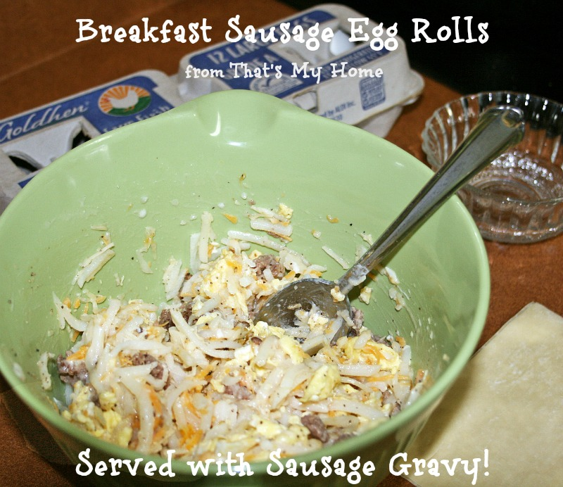 Breakfast Egg Rolls with Sausage Gravy from Recipes Food and Cooking