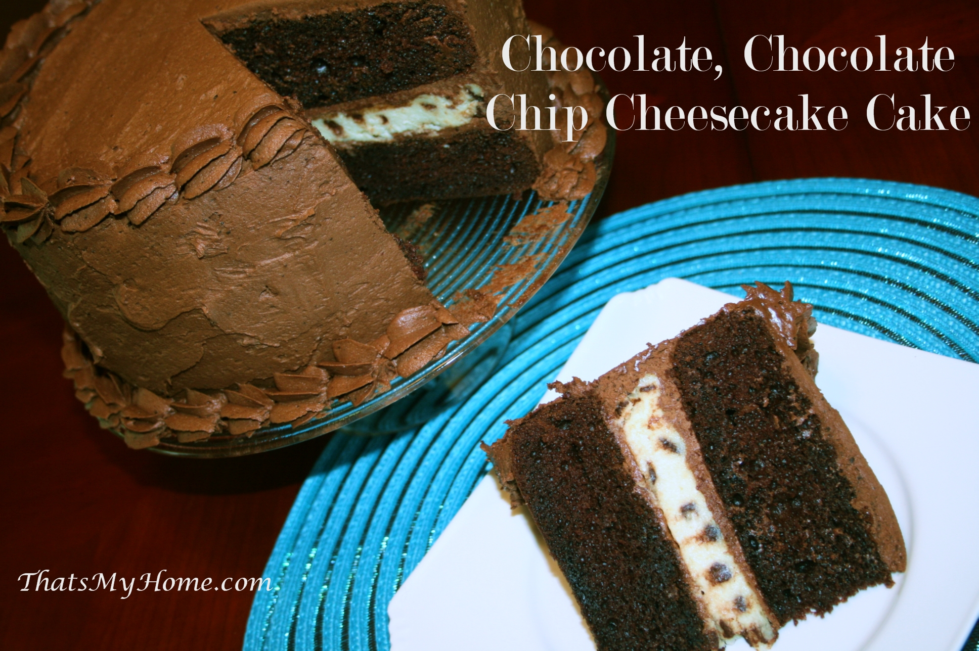 Chocolate, Chocolate Chip Cheesecake Cake - Recipes Food and Cooking