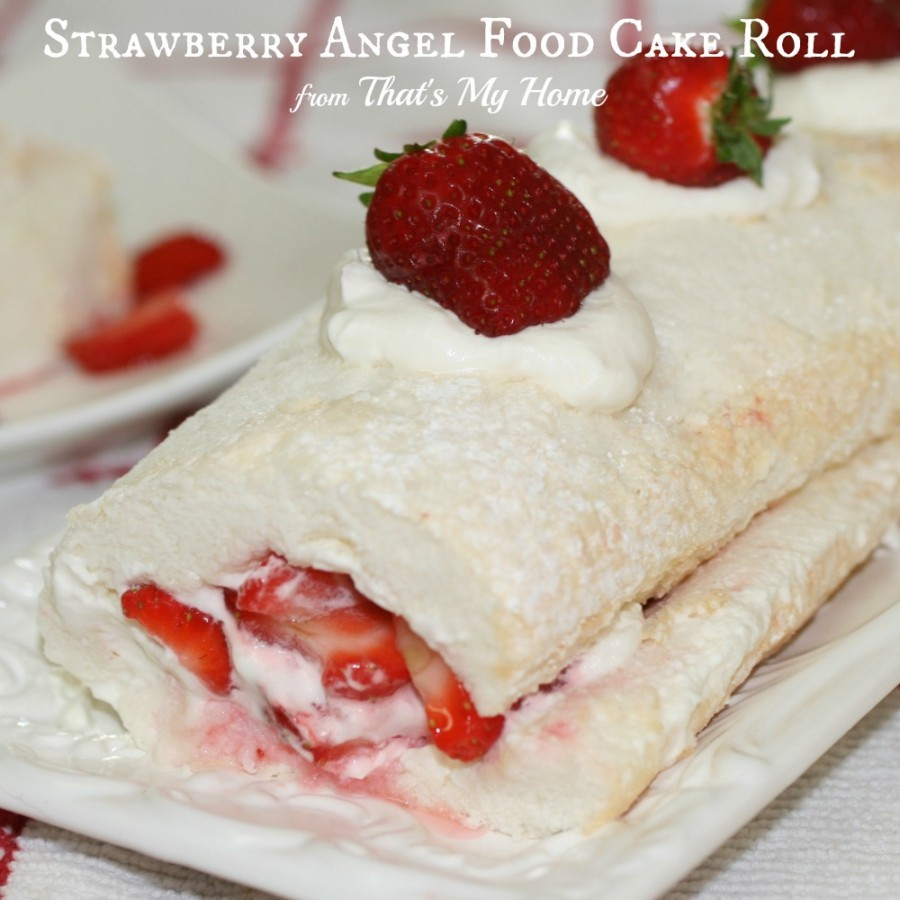 Strawberries and Cream Angel Food Cake Roll - Recipes Food and Cooking