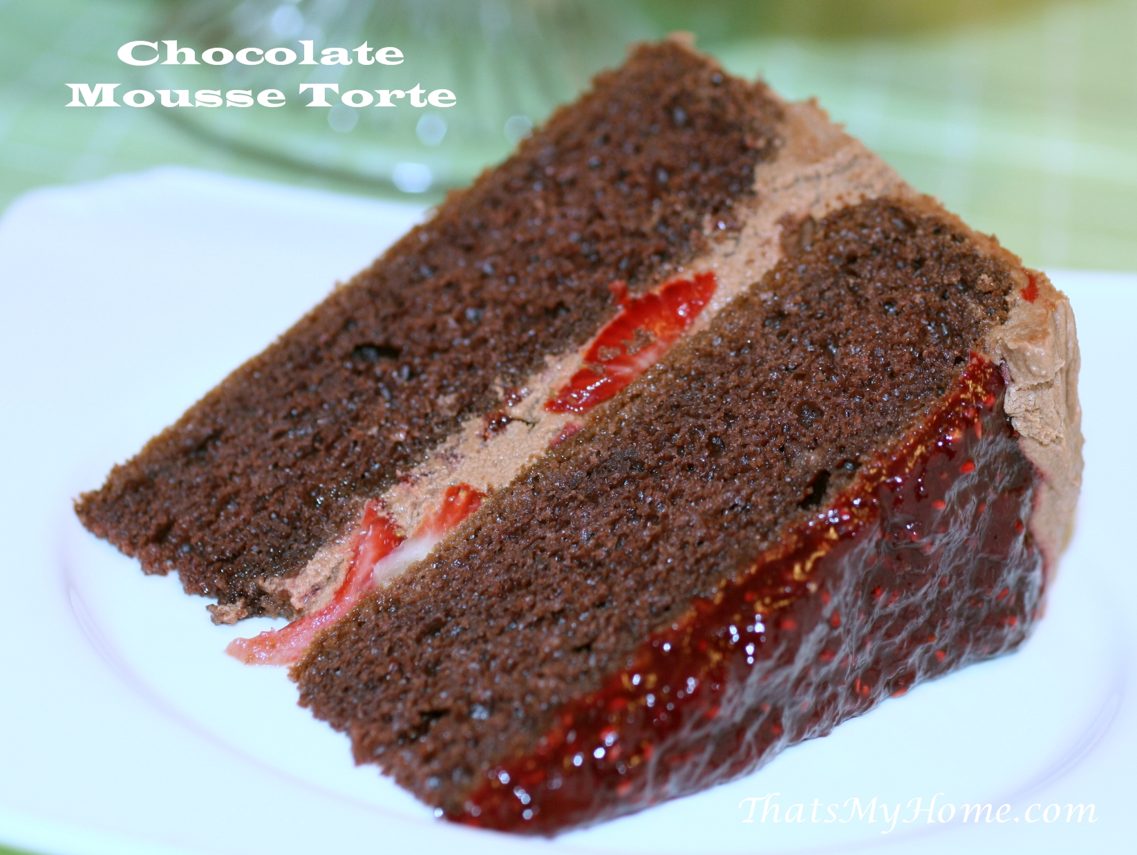 Chocolate cake with strawberry preserves filling