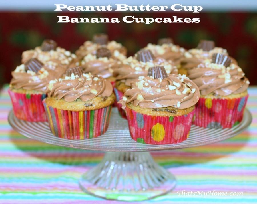 Peanut Butter Cup Banana Cupcakes