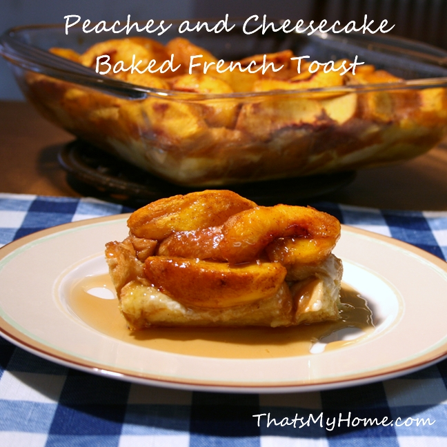 peaches with brown sugar and cinnamon with a creamy french toast baked ...