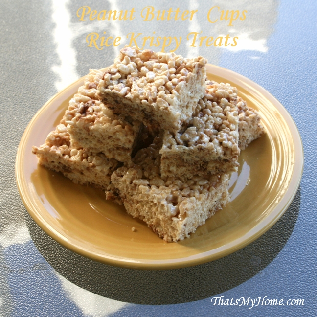 peanut butter cups rice krispy treats