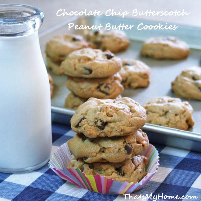 Chocolate Chip Butterscotch Peanut Butter Cookies
