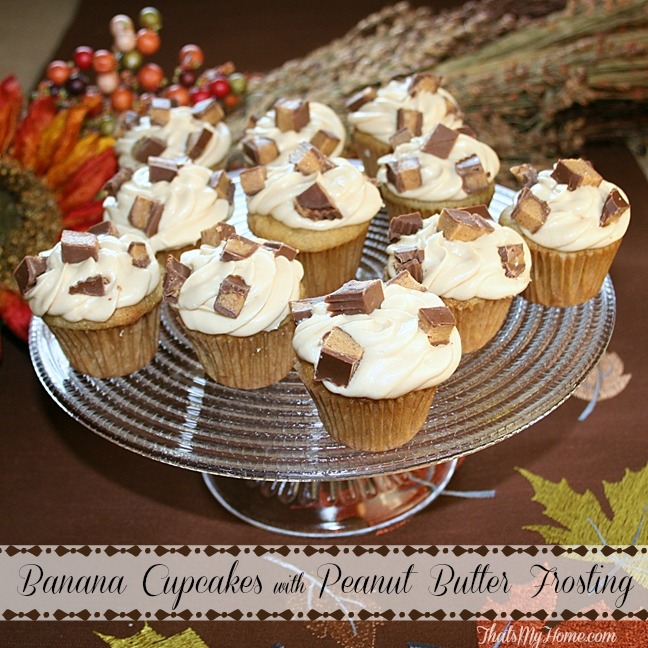 banana peanut butter cupcakes from recipesfoodandcooking.com