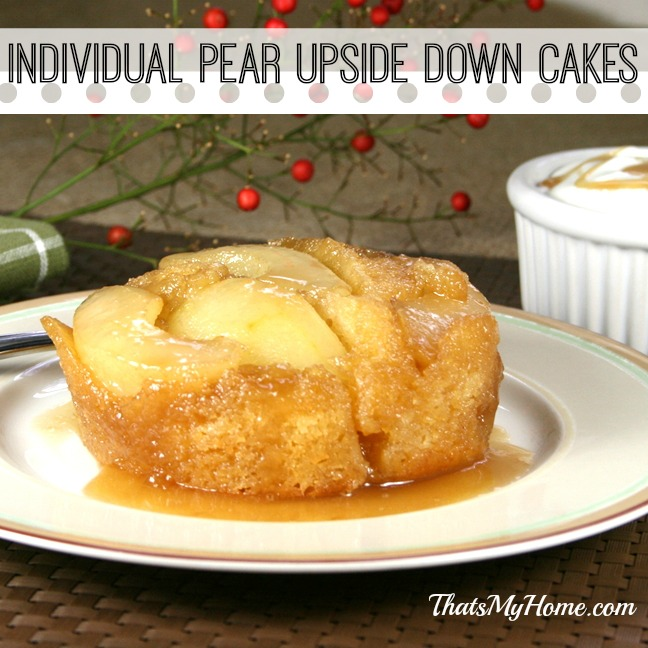 pear upside down cakes from recipesfoodandcooking.com
