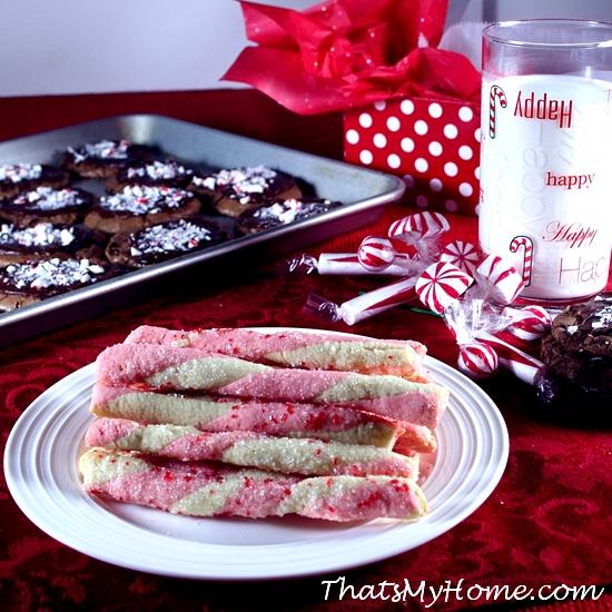 peppermint sticks christmas cookies from recipesfoodandcooking.com