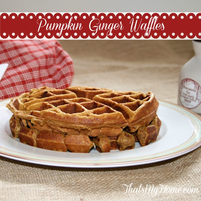 pumpkin gingerbread waffles from recipesfoodandcooking.com
