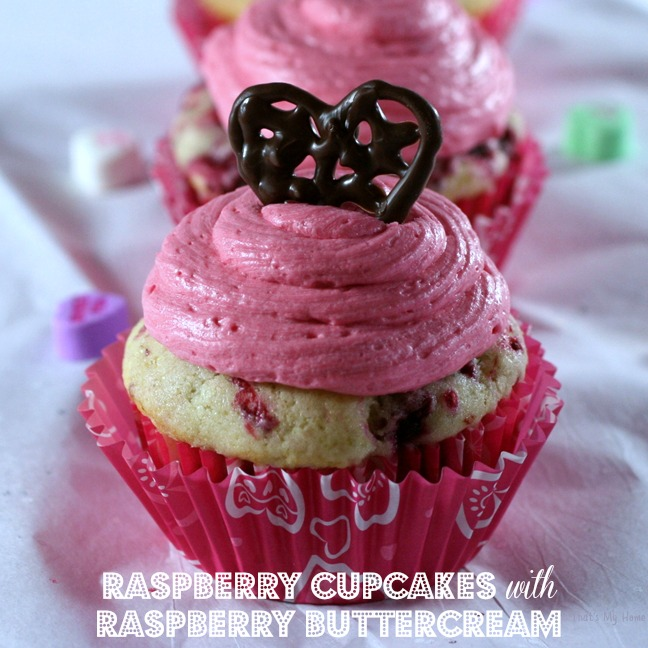Raspberry Cupcakes with Raspberry Buttercream recipe from Recipes, Food and Cooking