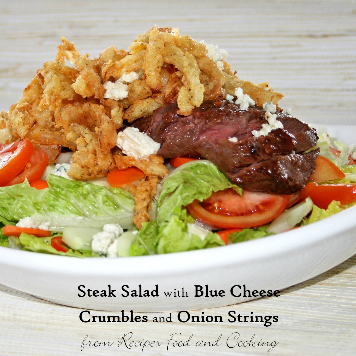 Steak Salad with Blue Cheese Crumbles and Onion Strings Copyright 2014 That's My Home #steaksalad #kamadogrillreicpes