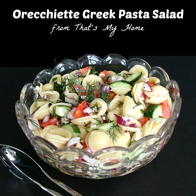 orecchiette greek pasta salad recipe from thatsmyhome.com