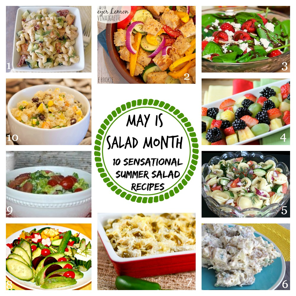 Collage of several different summer salad recipes.