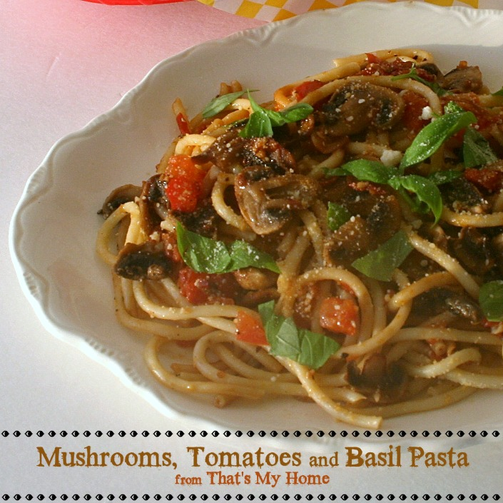 Mushrooms, Tomatoes and Basil Pasta from Recipes Food and Cooking