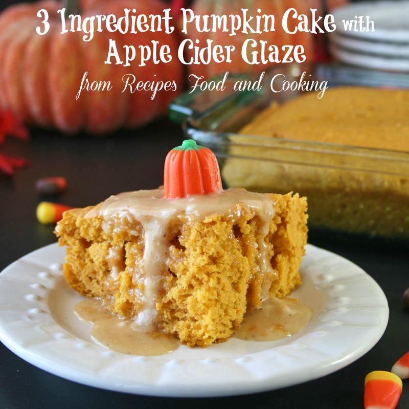 3 Ingredient Pumpkin Cake with Apple Cider Glaze