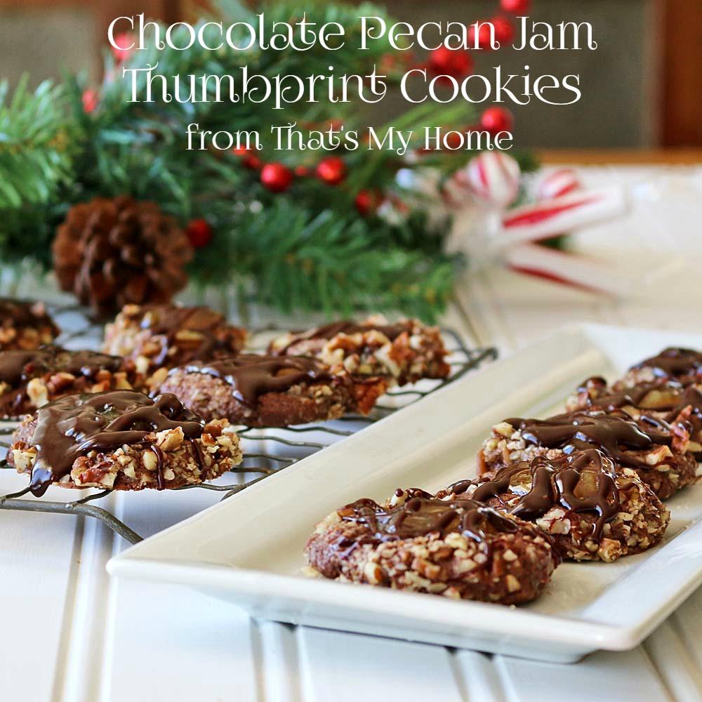 Chocolate Pecan Jam Thumbprint Cookies - Recipes Food and Cooking