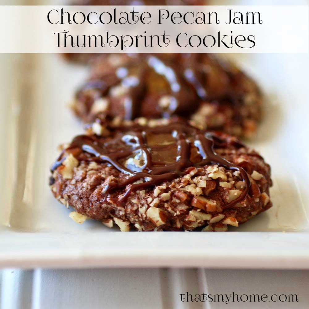 Chocolate Pecan Jam Thumbprint Cookies..