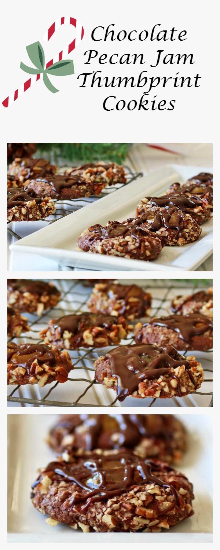 Chocolate Pecan Jam Thumbprint Cookies