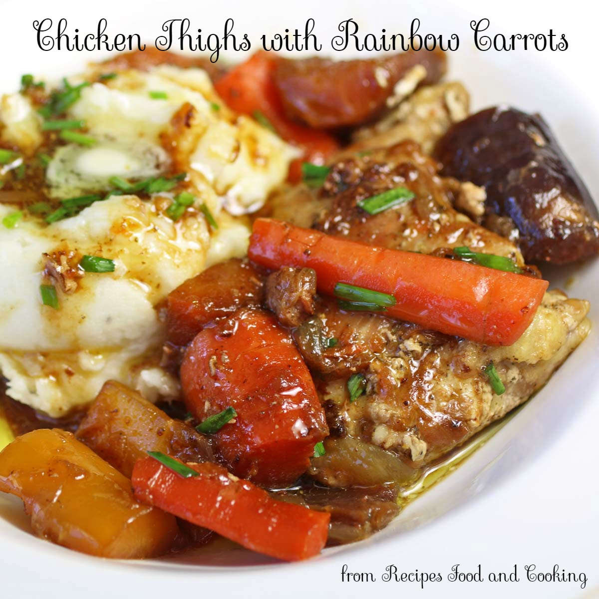 Chicken Thighs with Rainbow Carrots