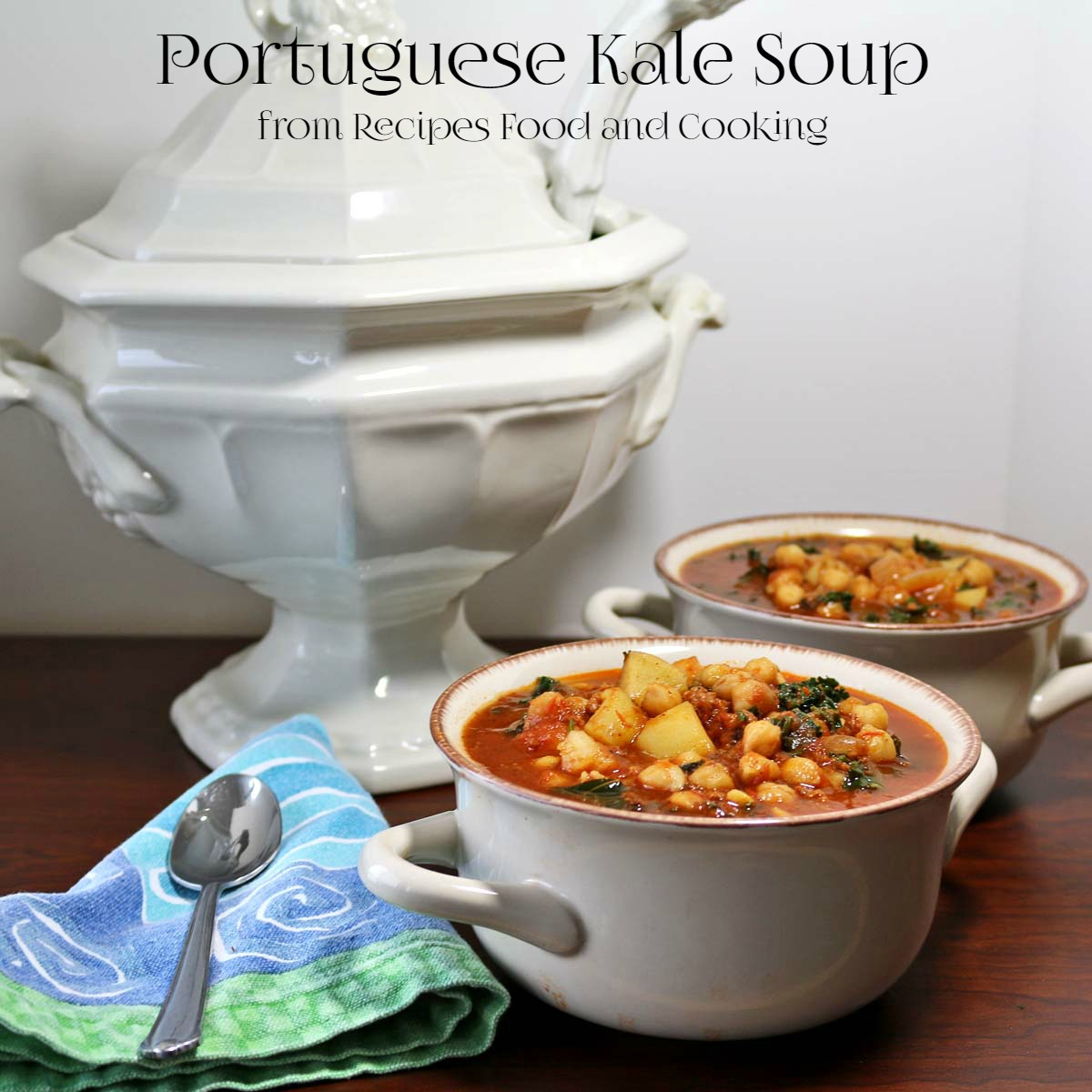 Portuguese Kale Soup is a spicy kale soup with garlic, onions ...