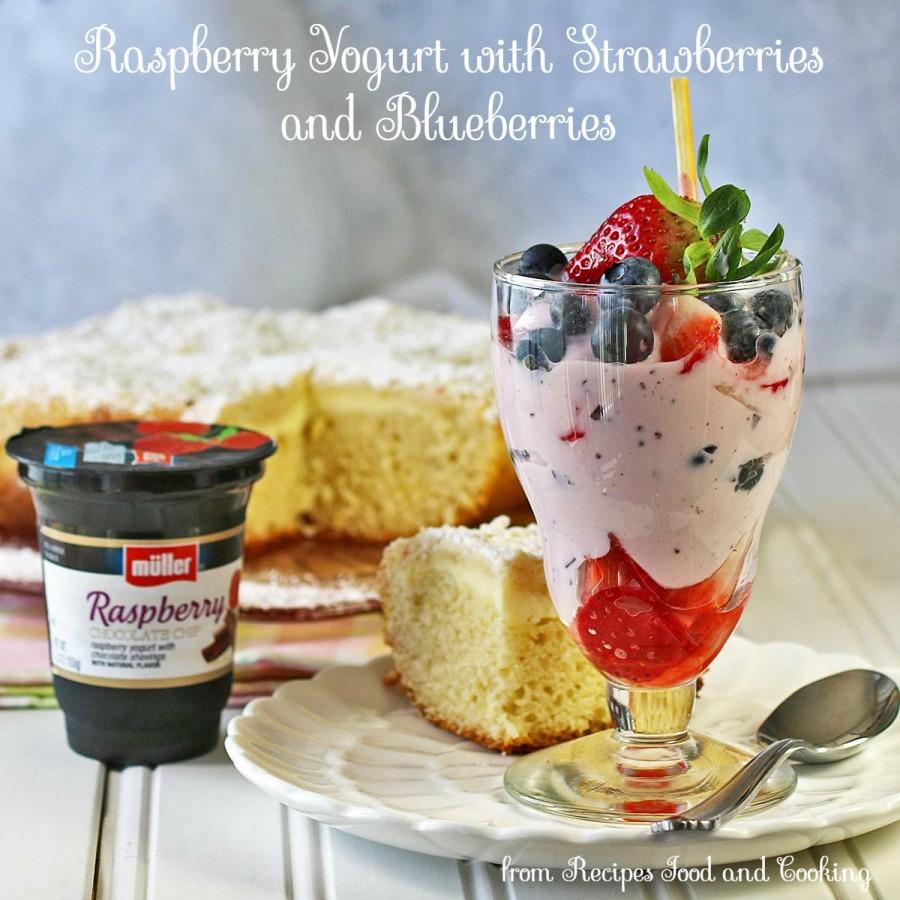 Raspberry Yogurt with Strawberries and Blueberries