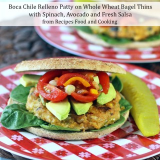 Boca Chile Relleno Patty on Whole Wheat Bagel Thins with Spinach, Avocado and Fresh Salsa