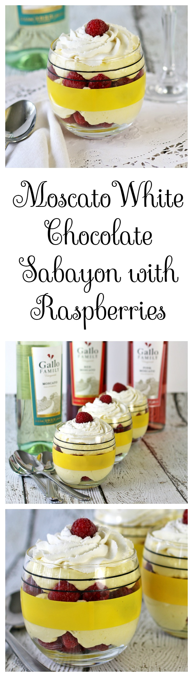 Moscato White Chocolate Sabayon with Raspberries