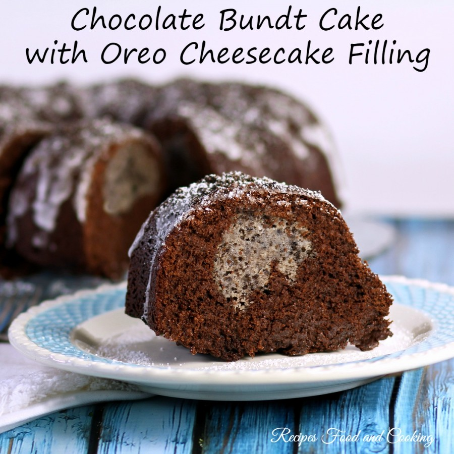 Chocolate Bundt Cake with Oreo Cheesecake Filling