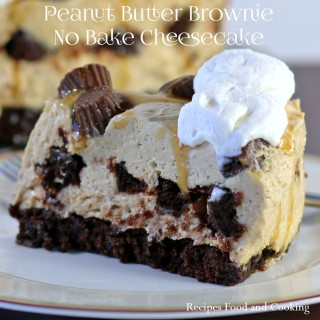 Peanut Butter Brownie No Bake Cheesecake