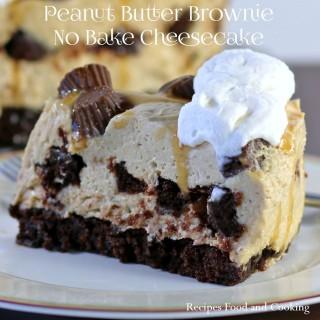 Peanut Butter Brownie No Bake Cheesecake