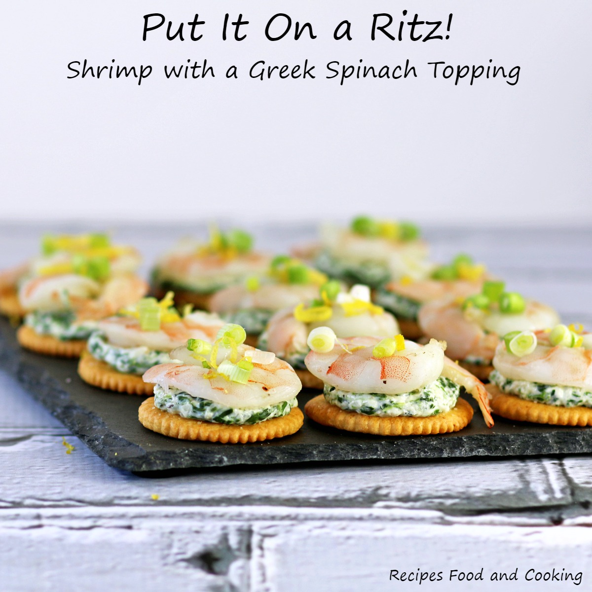Shrimp with Greek Spinach Topping on a Ritz
