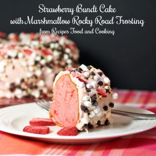 Strawberry Bundt Cake with Marshmallow Rocky Road Frosting
