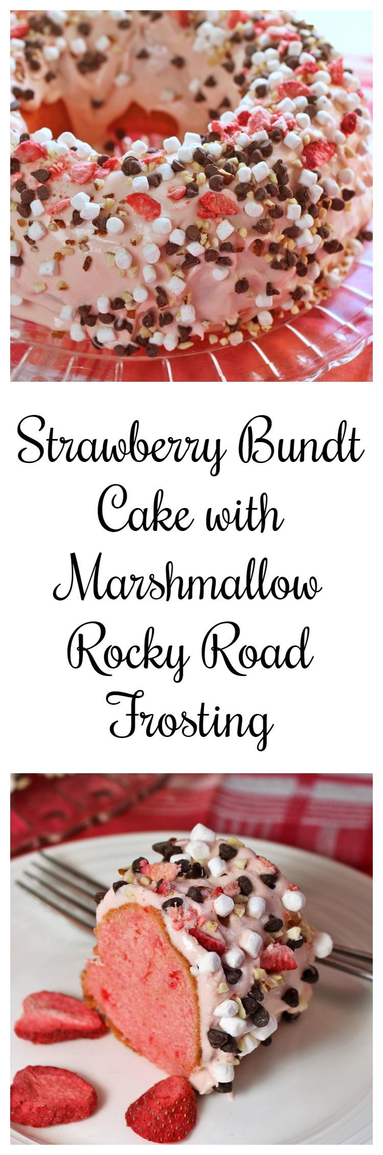 Strawberry Bundt Cake with Marshmallow Rocky Road Frosting