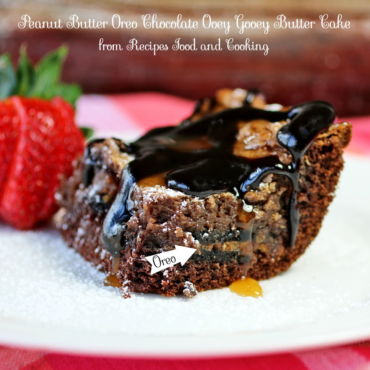 Peanut Butter Oreo Chocolate Ooey Gooey Butter Cake