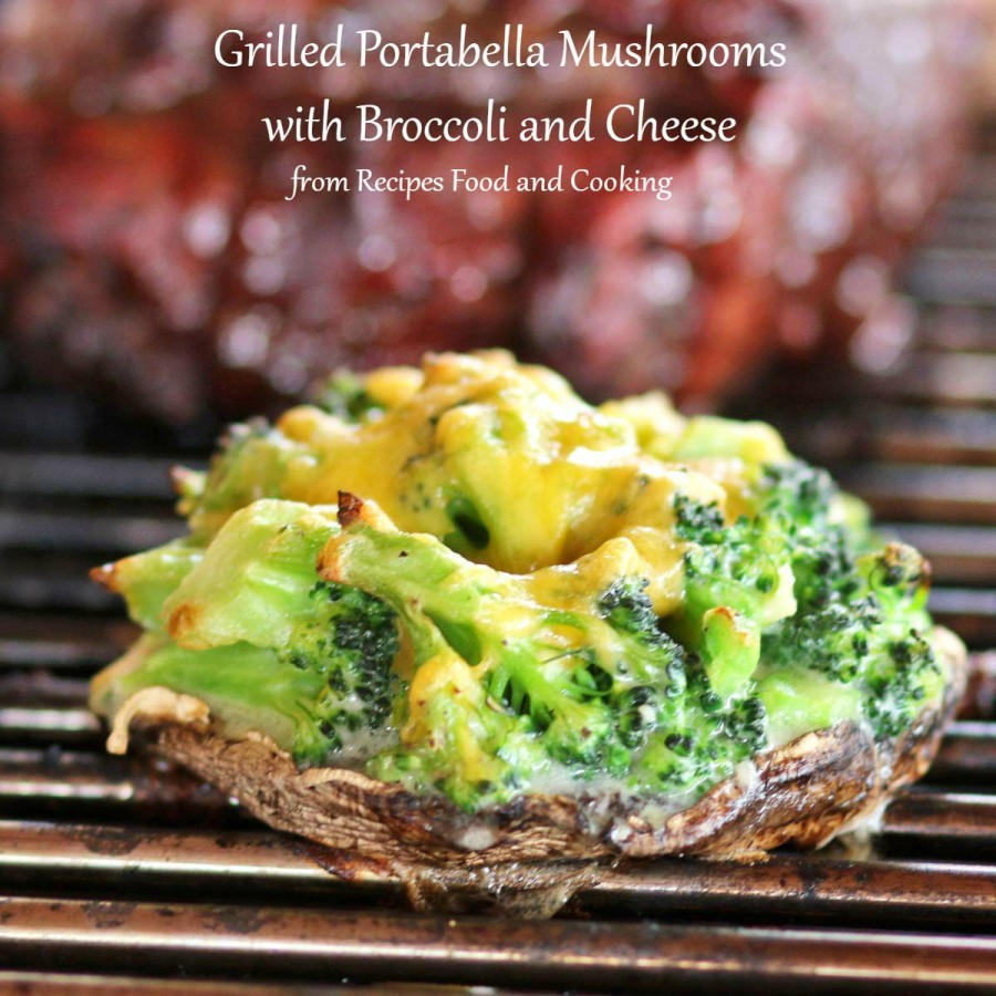 Grilled Portabella Mushrooms with Broccoli and Cheese