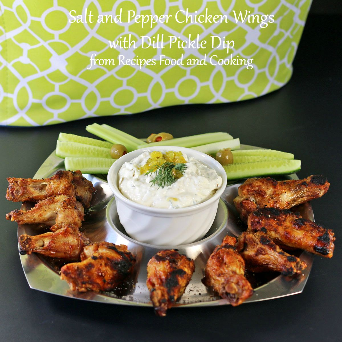 salt and pepper chicken wings with dill pickle dip. Black Bedroom Furniture Sets. Home Design Ideas