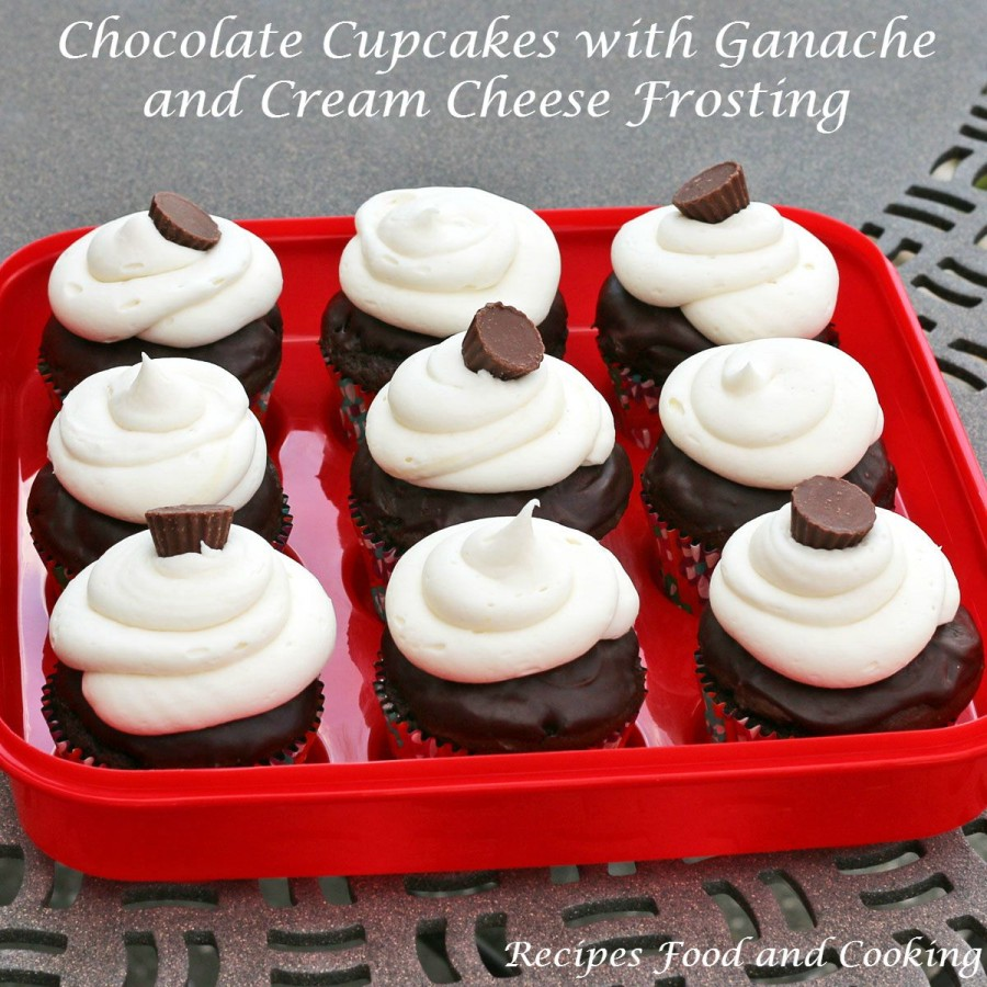 Chocolate Cupcakes with Ganache and Cream Cheese Frosting