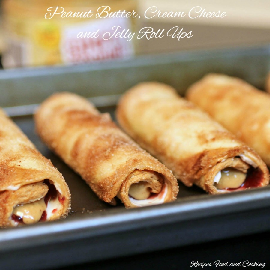Peanut Butter, Cream Cheese and Jelly Roll Ups
