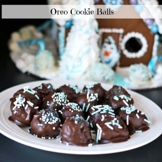 Oreo Cookie Balls Frozen Gingerbread House