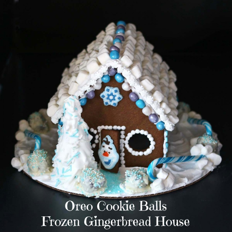 Oreo Cookie Balls Frozen Gingerbread House