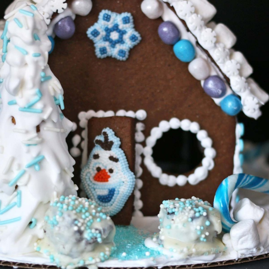 Oreo Balls Frozen Gingerbread House