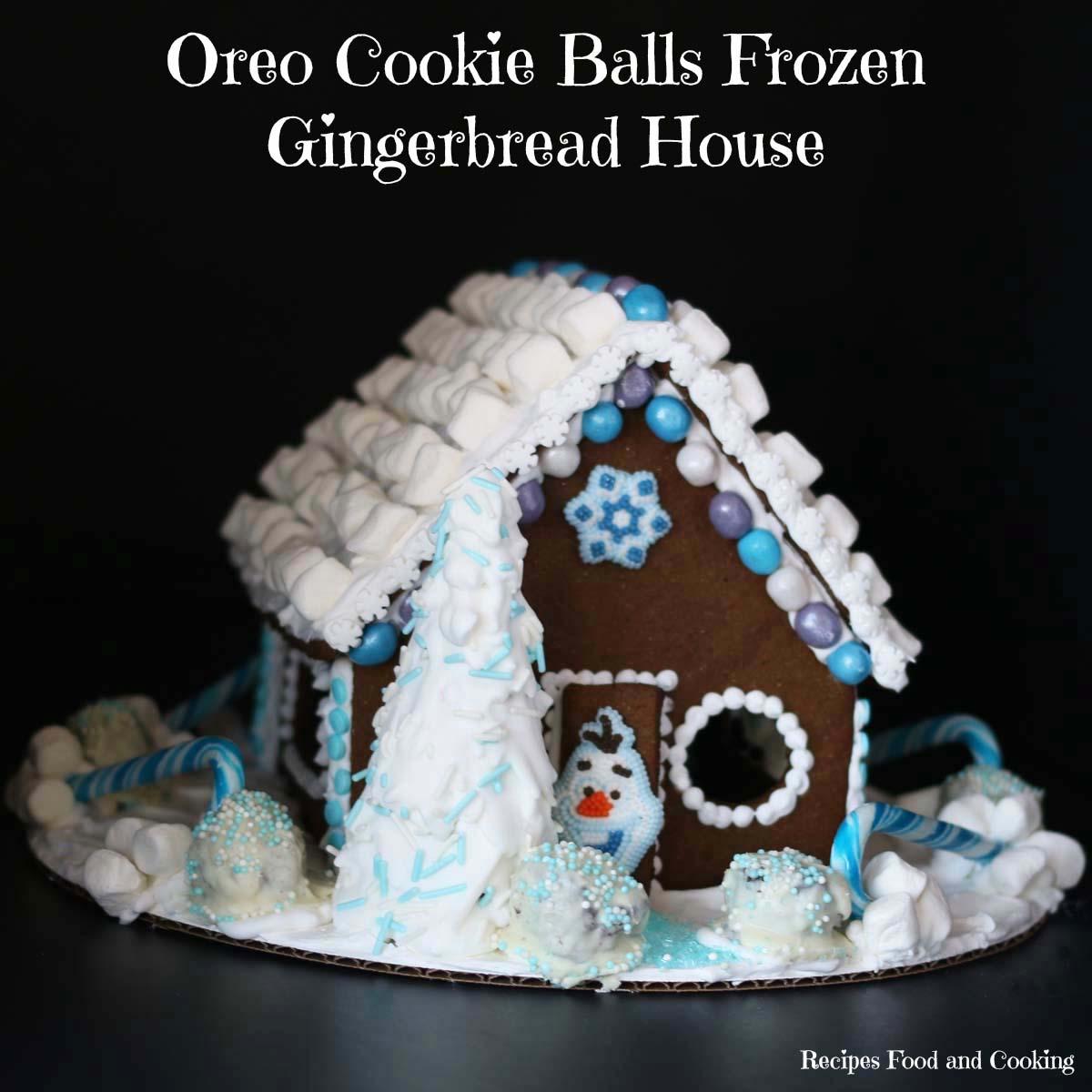 Oreo Balls Frozen Gingerbread House