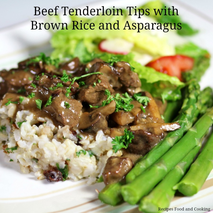 Beef Tenderloin Tips with Brown Rice and Asparagus