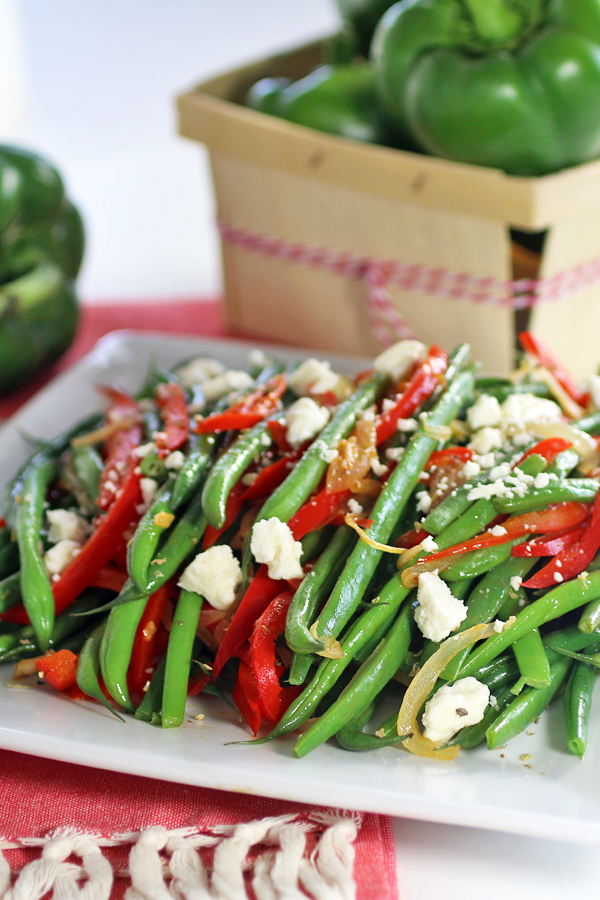 Red Peppers with Green Beans and Feta