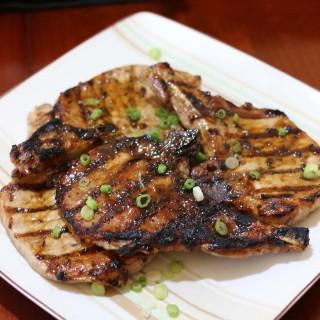 Grilled Pork Chops with a Dijon Balsamic Herb Glaze