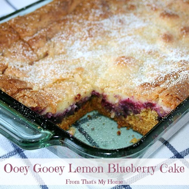 Ooey Gooey Lemon Blueberry Cake