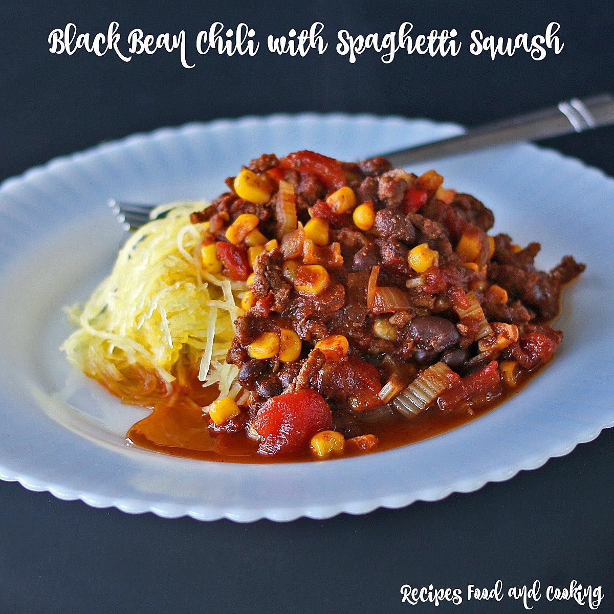 Black Bean Chili with Spaghetti Squash