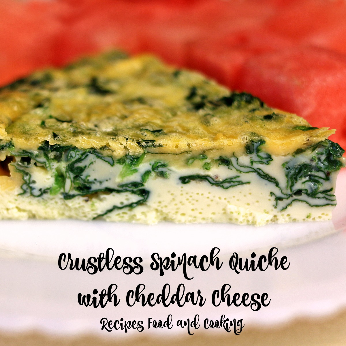 Crustless Spinach Quiche with Cheddar Cheese