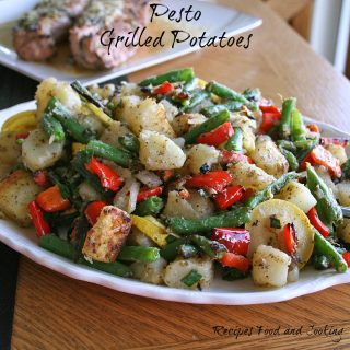 Grilled Pesto Potatoes, Beans, Peppers. Squash and Onions