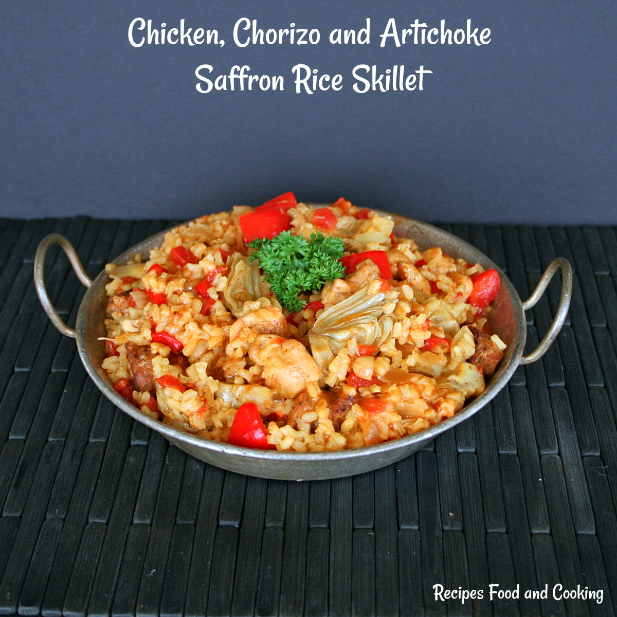 Chicken, Chorizo and Artichoke Saffron Rice Skillet